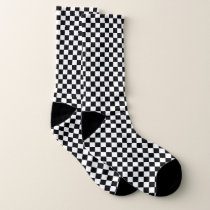 Black and white checker pattern socks