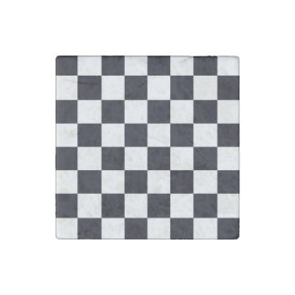 Black and White Checker Pattern Stone Magnet