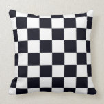 Black and White Checker Pattern Throw Pillow