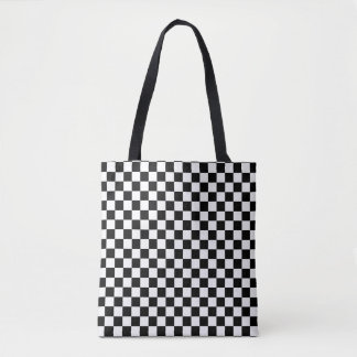 Black and white checker pattern tote bag