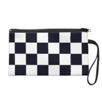 Black and White Checker Pattern Wristlet Purse