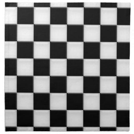 Black and White Checker patterns Napkin   Zazzle