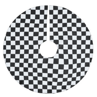 Black and White Checkerboard Background Brushed Polyester Tree Skirt