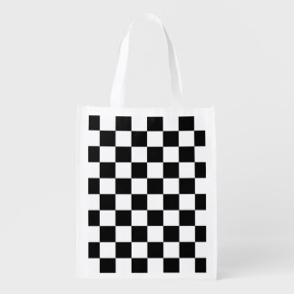 Black and White Checkerboard Checkered Flag Grocery Bag
