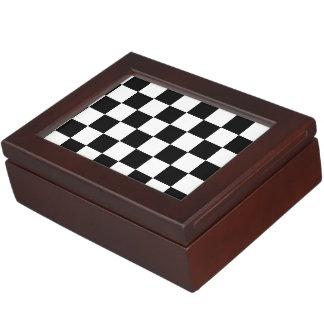 Black and White Checkerboard Checkered Flag Memory Box