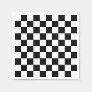Black and White Checkerboard Checkered Flag Napkin