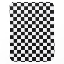 Black and White Checkerboard Checkered Flag Stroller Blanket
