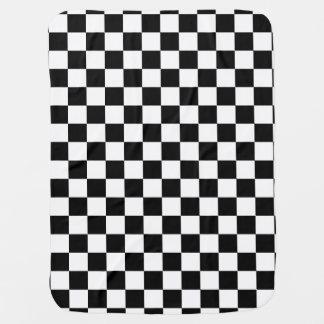Black and White Checkerboard Checkered Flag Stroller Blanket