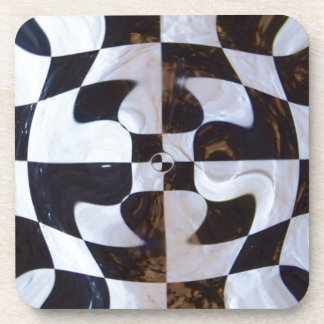 Black and White Checkerboard Distorted Beverage Coasters