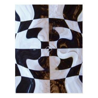 Black and White Checkerboard Distorted Postcard