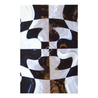 Black and White Checkerboard Distorted Stationery