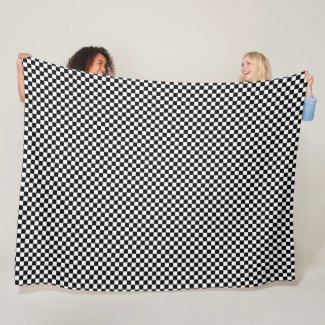 Black and White Checkerboard Fleece Blanket