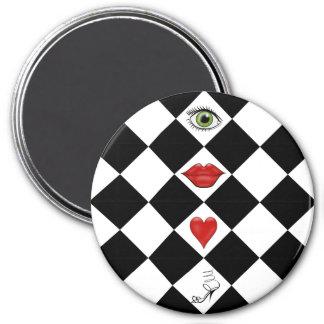black and white checkerboard folk art lips 3 inch round magnet