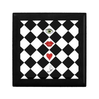 black and white checkerboard folk art lips jewelry box