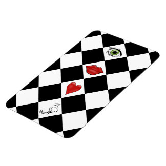 black and white checkerboard folk art lips rectangular photo magnet