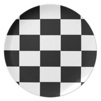 Black and White checkerboard Melamine Plate