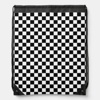Black and White Checkerboard pattern Drawstring Bag