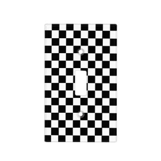 Black and White Checkerboard Pattern Light Switch Plate