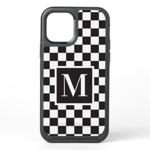 Black And White Checkerboard Pattern Monogram OtterBox Symmetry iPhone 12 Pro Case