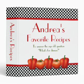 Black and White Checkerboard Recipe Binder