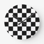 Black and White Checkerboard Retro Hipster 2 Round Wallclocks