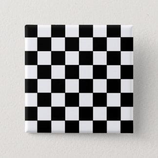 Black and White Checkerboard Retro Hipster Button