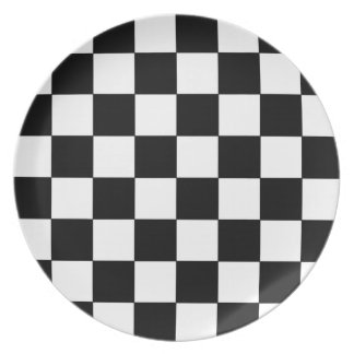 Black and White Checkerboard Retro Hipster Dinner Plate