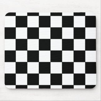 Black and White Checkerboard Retro Hipster Mouse Pad