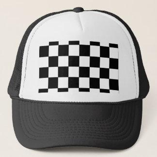 Black and White Checkerboard Retro Hipster Trucker Hat