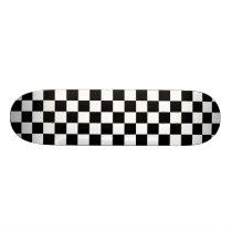 Black and White Checkerboard Skateboard