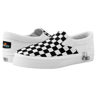Black and White Checkerboard Slips Ons Printed Shoes