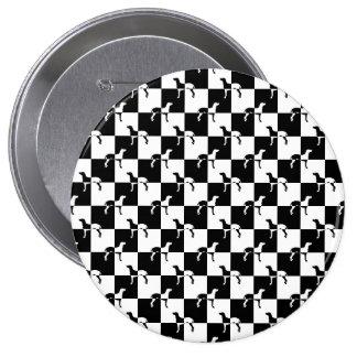 Black and White Checkerboard Weimaraner 4 Inch Round Button