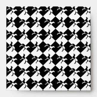 Black and White Checkerboard Weimaraner Envelope