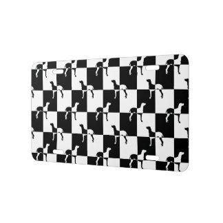 Black and White Checkerboard Weimaraner License Plate