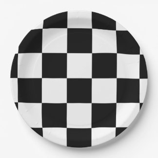 Black and White Checkered 9 Inch Paper Plate