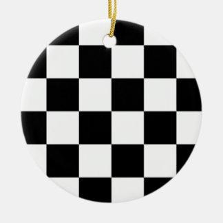 Black and White Checkered Auto Racing Flag Ceramic Ornament