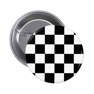 Black and White Checkered Auto Racing Flag Pinback Button