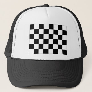 Black and White Checkered Auto Racing Flag Trucker Hat
