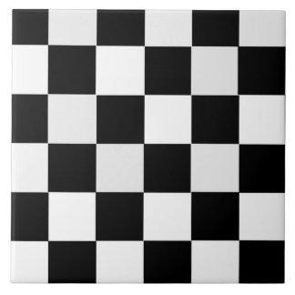 Black and White Checkered Ceramic Tile