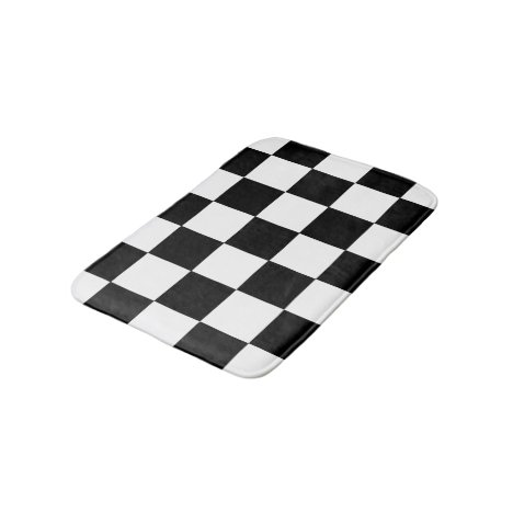 Black And White Checkered Checkerboard Pattern Bathroom Mat
