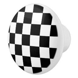 Black And White Checkered Checkerboard Pattern Ceramic Knob