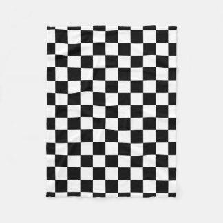 Black And White Checkered Checkerboard Pattern Fleece Blanket