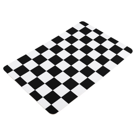 black and white checkered checkerboard pattern floor mat. Black Bedroom Furniture Sets. Home Design Ideas