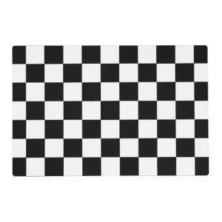 Black And White Checkered Checkerboard Pattern Laminated Placemat