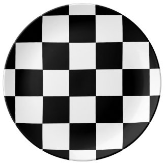 Black And White Checkered Checkerboard Pattern Porcelain Plate
