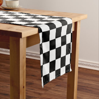 Black And White Checkered Checkerboard Pattern Short Table Runner