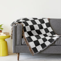 Black And White Checkered Checkerboard Pattern Throw