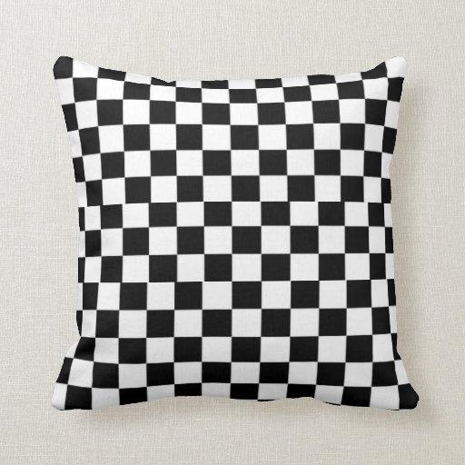 Black And White Checkered Checks Throw Pillows Zazzle