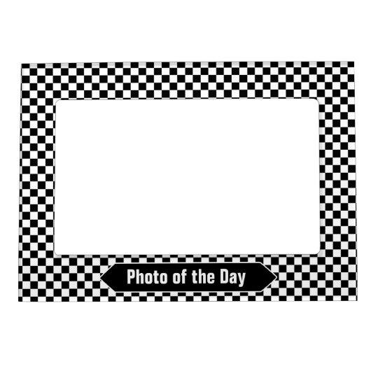 Black And White Checkered Custom Photo Magnetic Frame Zazzlecom