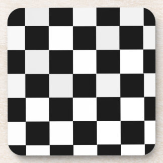 Black and White Checkered Drink Coaster